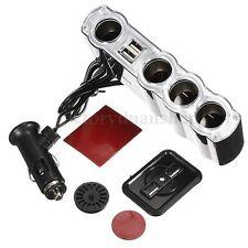 12V Auto Car Cigarette Lighter 4 Way Socket Splitter 2 USB Plug Adapter Charger
