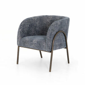 """26.5"""" W Arduino Occasional Chair Soft Blue Fabric Aged Bronze Finished Iron Base"""