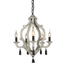 Retro Distressed Wood Chandelier 5-Light Farmhouse Rust Metal Wood Pendant Lamp