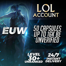 League of Legends Account EUW LOL Smurf Acc 50 Capsules Level 30 Unranked