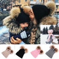 Faux Fur Hat Double Pom Beanie Hat Winter Warm Wool Knit Bobble Ski Cap Mom&Baby