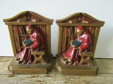 More details for antique lva ronson metal art painted book ends bookends monk reading c1922
