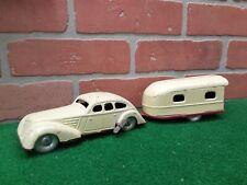 Rare Vintage Tin Wind-up Sedan & Camper Trailer Set Made in Germany