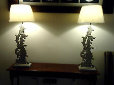 Elegant pair of tall table lamps beautiful french grey wood fretwork REDUCED