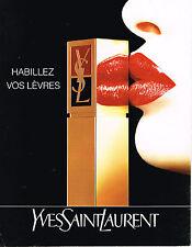 PUBLICITE ADVERTISING 074  1992  YVES SAINT LAURENT  cosmétiques rouge à lèvres