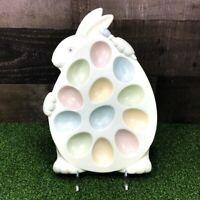 Department 56 ~ Rabbit Shaped Deviled Egg Tray ~ Matte White ~ 12 Pastel Slots
