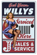 """New Sexy Get Your Willys Jeep Sales And Service Pinup Girl  Metal Sign 12"""" x 18"""""""