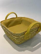 M Pop Yellow Square Basket Straw Wicker Home Storage Hamper Fake Leather Handle