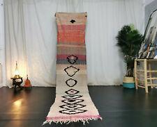 Vintage Moroccan Handmade Boucharouite Runner 2'3x10'6 Berber Abstract Beige Rug