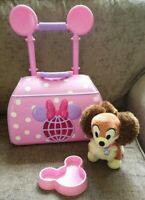 Disney Store Minnie Mouse Pink Pet Carrier Case Trolley & Fifi Dog Soft Toy