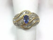 Iolite Tanzanite Diamond Solitaire Accent Ring 14k Yellow Gold Size 10 FMGE 585