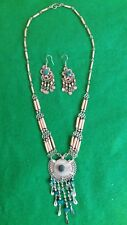 Bamboo and Turquoise stone Necklace and Earring Set handmade in Peru