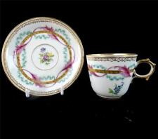 ANTIQUE FRENCH HAND PAINTED PORCELAIN CUP & SAUCER WREATHES RIBBONS LIMOGES d