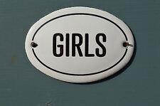 SMALL OVAL ENAMEL METAL GIRLS DOOR SIGN PLAQUE DOOR SIGN ENAMELED TOILET SIGN
