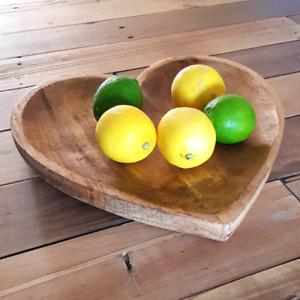 Heart Shaped Mango Wood Fruit Bowl