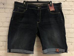 NWT Arizona Dark Wash Blue Jean Bermuda Shorts Mid-Rise Juniors Size 19