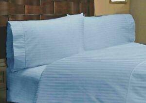 Blue Striped Split Corner Bed Skirt Choose Drop Length US Size 800 Count