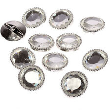 20 x 25mm Silver Round Glass Buttons Faceted Crystal Diamante Rhinestone Sparkle