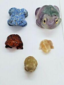 Lot of 5 Gem Stone Frog Figurines Miniature Small Amphibian amethyst amber mix