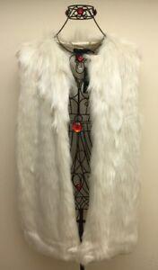 Lauren Ralph Lauren Vest Faux Fur Jacket White Soft Long Women`s Size L New