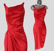 KAREN MILLEN Red Satin Fit and Flare Side Detail Evening Party Prom Dress UK 10