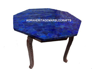"""Marble Lapis Coffee Table Top With 18"""" Tall Stand Marquetry Inlaid Mosaic H2773"""