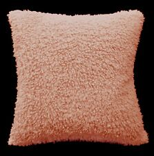fc03a Light Coral Faux Sheep Skin Style Curly Hair Fleece Material Cushion Cover
