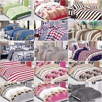 DUVET COVER SET WITH FITTED SHEET & PILLOW CASES 4 PIECES LUXURY ORNAMENT COTTON