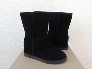 UGG BLACK CLASSIC FEMME SHORT SUEDE/ SHEEPWOOL WEDGE BOOTS, US 7/ EUR 38 ~NIB