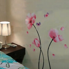 Top Frosted Pink Lily Flower Removable Wall Sticker Bedroom Living Room Decor