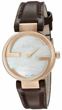 Gucci Interlocking G SM MOP Dial RG PVD Leather Women Watch YA133516 New Sale!