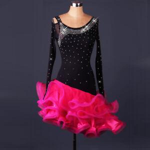Latin Dance Dress Salsa Tango Cha cha Ballroom Rhinestone Competition Dress F309