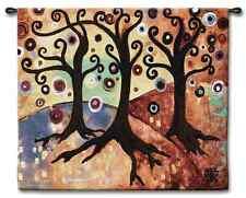 WHIMSICAL FLORAL CIRCLE TREE CORONA III ABSTRACT ART TAPESTRY WALL HANGING 52x42