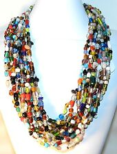 """FN220f Multi-Colored Glass Beads 27"""" Continuos Loop Necklace -12 Strands"""