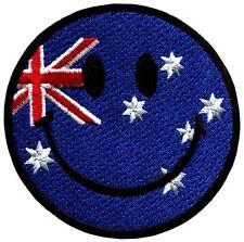 Smiley face Australia Australian flag smile retro applique iron-on patch G-135