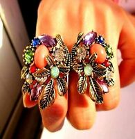 Vintage style chunky bronze crystal flowers double finger ring