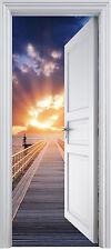 Adhesivo puerta de tronco trampantojo Pontón Acostado del sol 90x200 cm ref 321