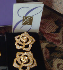Vtg. Avon Elizabeth Taylor Pave' Crystal Rose Earrings matches the Pin**New*Rare