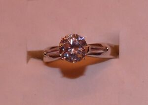 2.20 CTW AWESOME YAG ROUND & BAGUETTE  ENGAGEMENT WEDDING STYLE RING SIZE 6