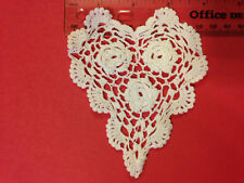 "New Wholesale Doily Lot 12 White Crocheted Heart Shape 3.5 - 4"" Doilies NWT F/S"