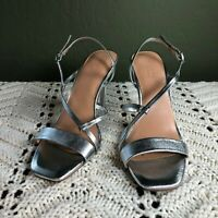 Halston Heritage Isla Silver Sandals Womens Size 8 M