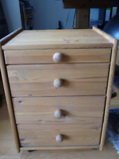Gebraucht, sehr gut: Massivholz Rollcontainer Kiefer mit 4 Schubladen