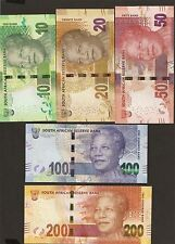 2012 South Africa 10 / 20 / 50 /100 / 200 Rand  Uncirculated Set