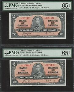 2 Consecutive 1937 Bank of Canada $2 PMG Gem Uncirculated 65 EPQ Banknotes