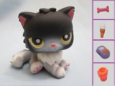 Littlest Pet Shop Black & White Persian Cat with Yellow Eyes #435 +1 Free Access