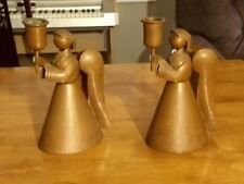 2 Vintage Taxco Heavy Brass Angel Candle Holders (Item#EJ103)