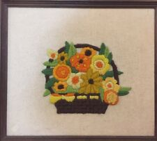 Vintage Retro Crewel Embroidery Framed Wall Art Orange & Yellow Flowers Basket
