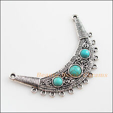 1Pc Retro Tibetan Silver Turquoise Moon Charms Pendants Connectors 40x67.5mm