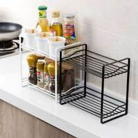 2 Tiers Iron Storage Rack Spice Jar Bottle Shelf Holder Organizer Kitchen Bath