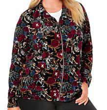 Karen Scott Women's Plus 1X Zip Front Jacket Velour Floral New